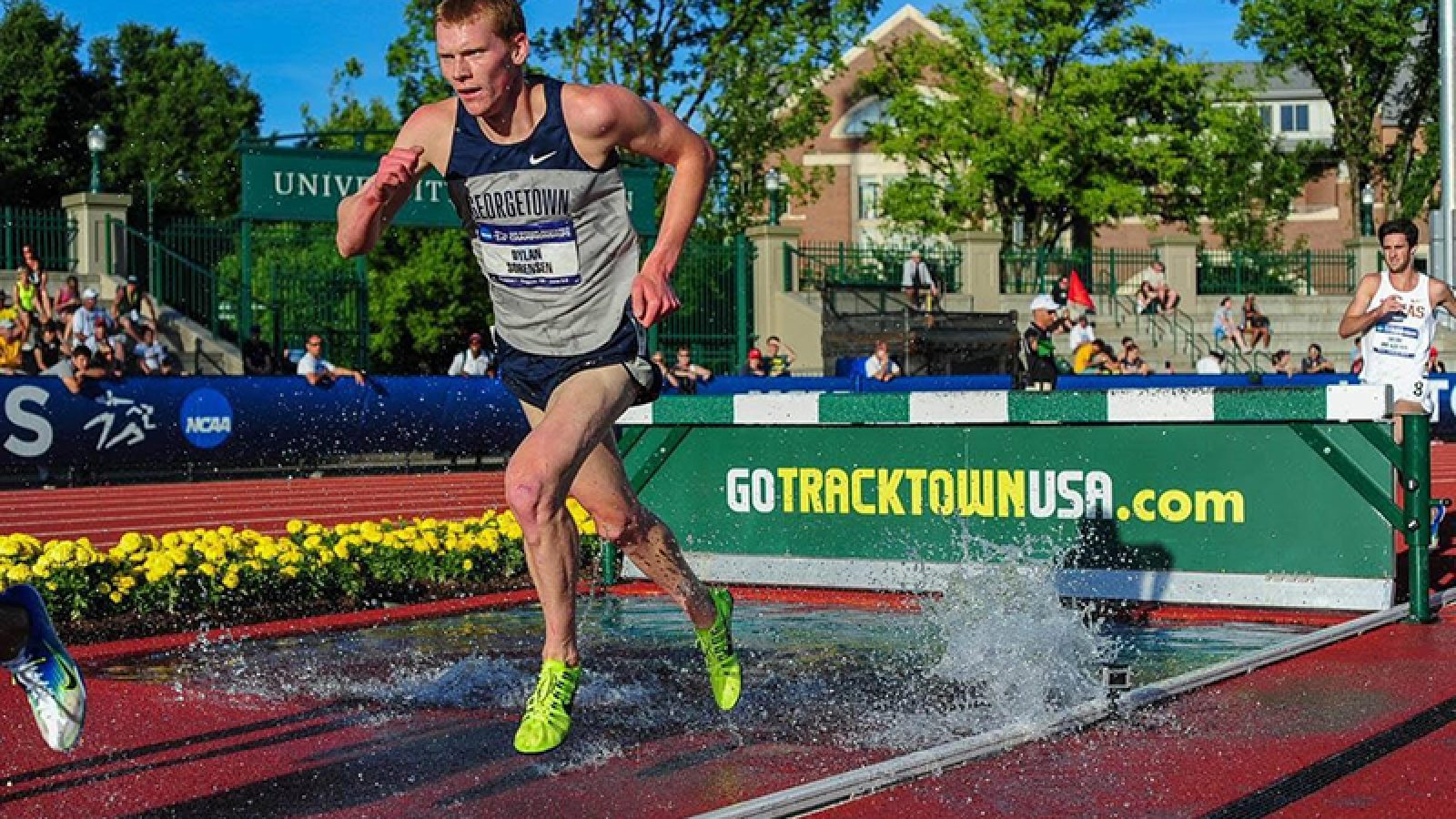 Dylan Sorensen runs on a track outside. Photograph by Michael Scott