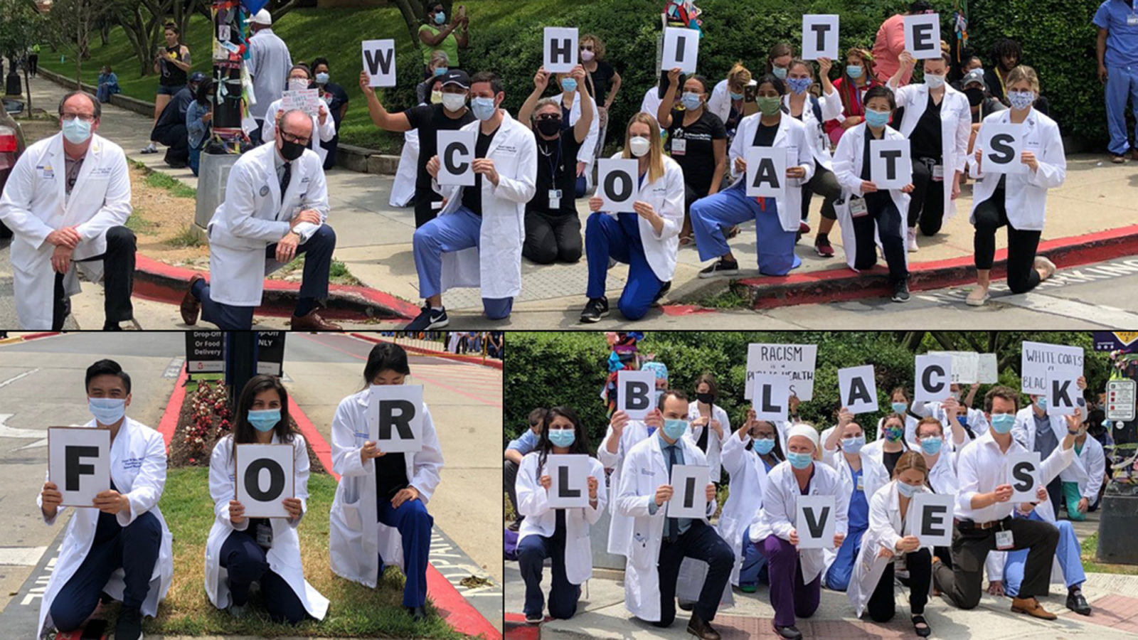 Docotors wearing white coats kneel holding signs thet read White Coats for Black Lives.