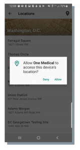 """A screenshot of a pop-up message on a phone that says """"Allow One Medical to access this devices's location? Deny. Allow."""""""
