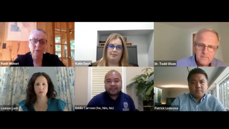 Six administrators on Zoom during a town hall