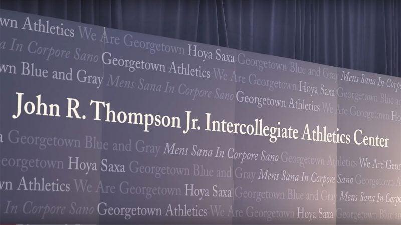 John R. Thompson Jr. Athletic Center banner.