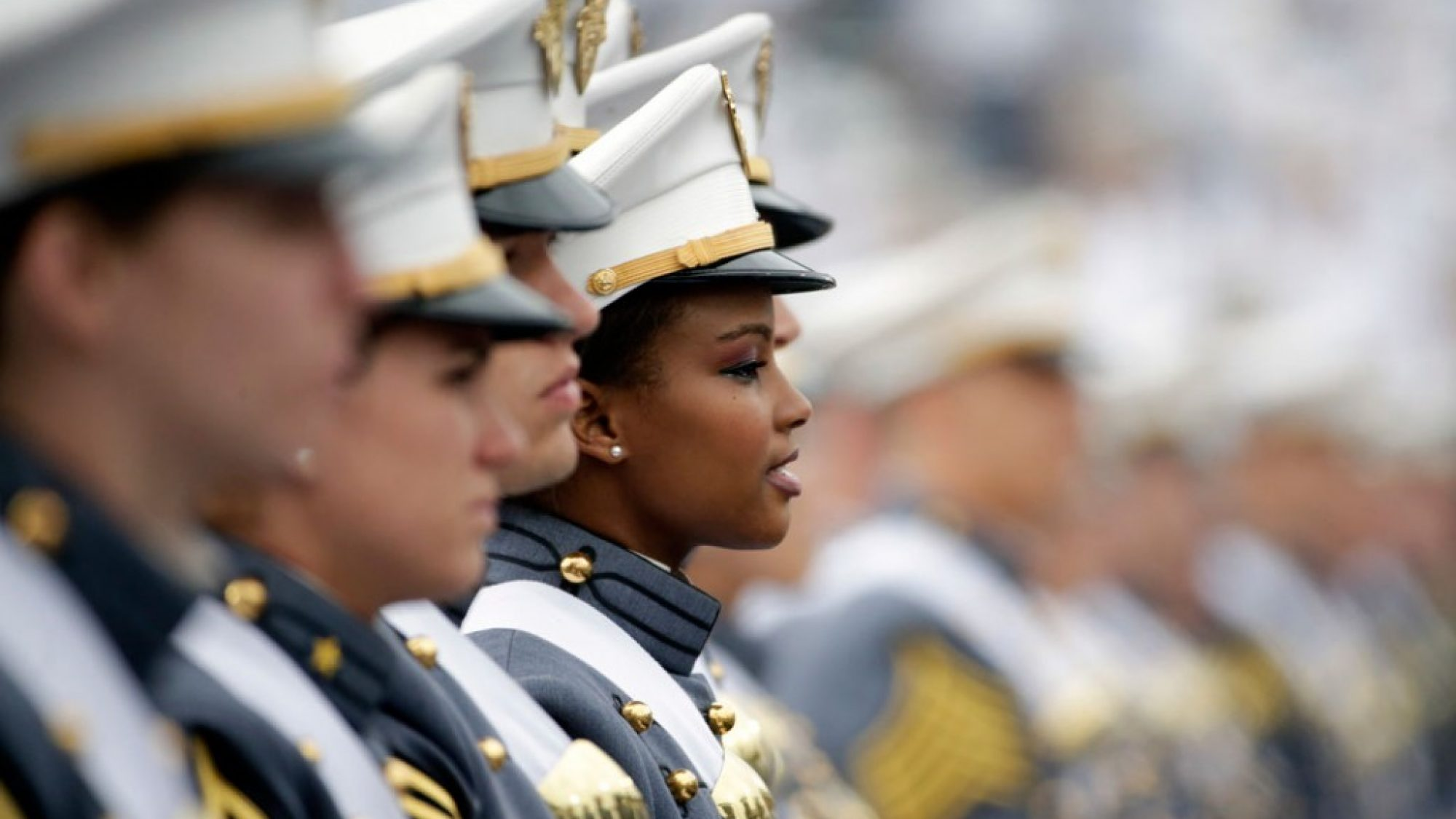 A multi-racial group of military officers