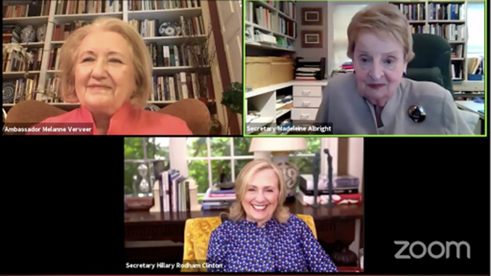 Melanne Verveer, Madeleine Albright and Hillary Rodham Clinton on Zoom