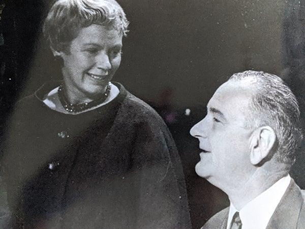 Lillian Brown with Lyndon B. Johnson