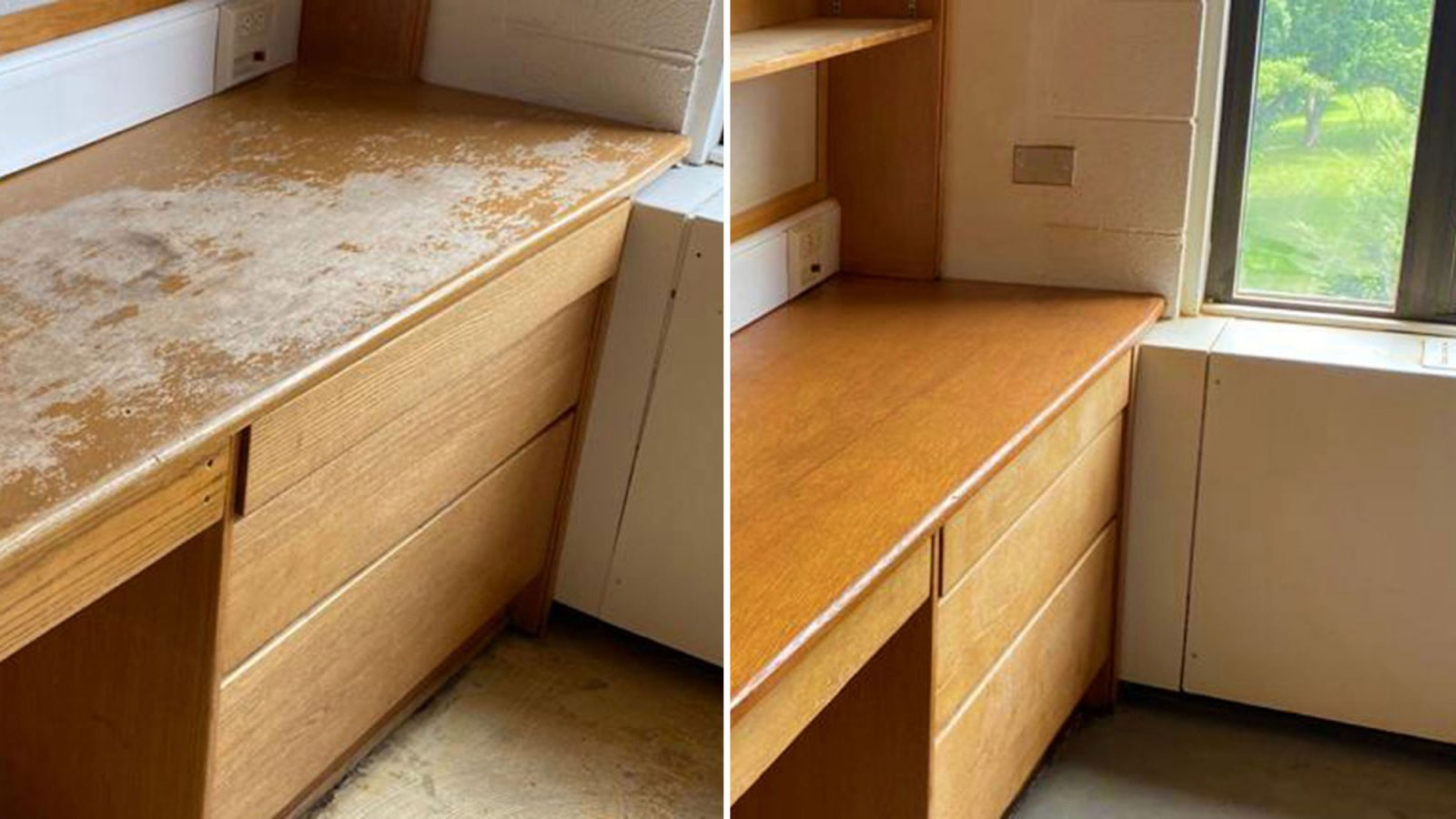 side-by-side image of an old, scratched desk and a new one