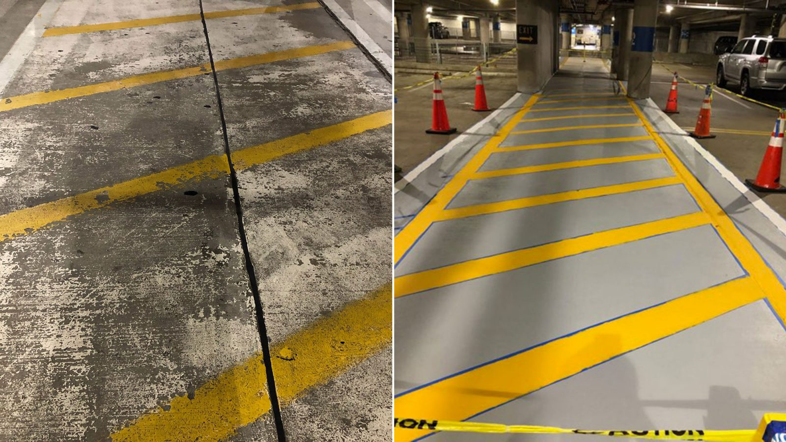 Side-by-side view of the parking lot before and after renovations and construction