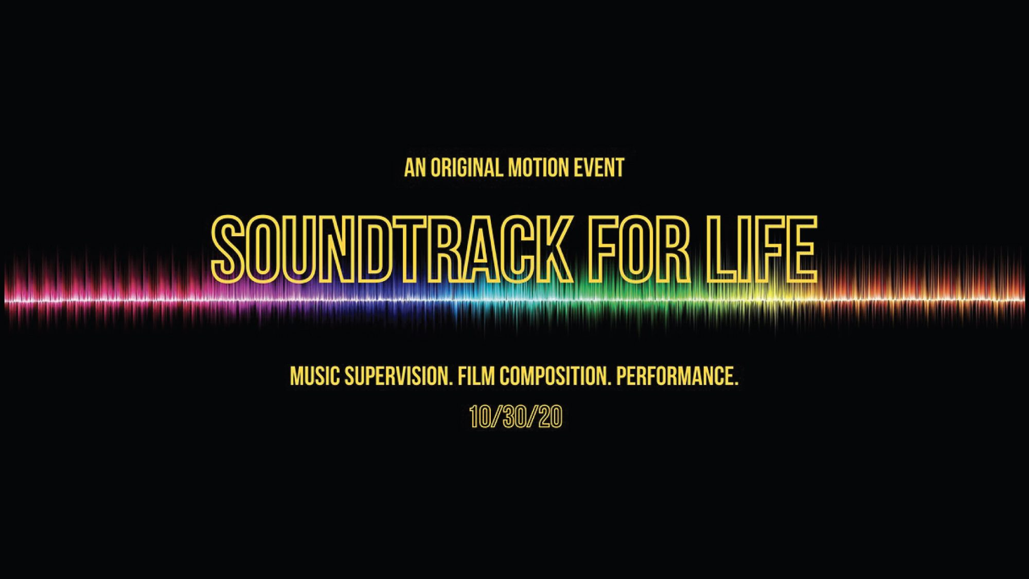 Soundtrack for Life text with rainbow-colored soundwave