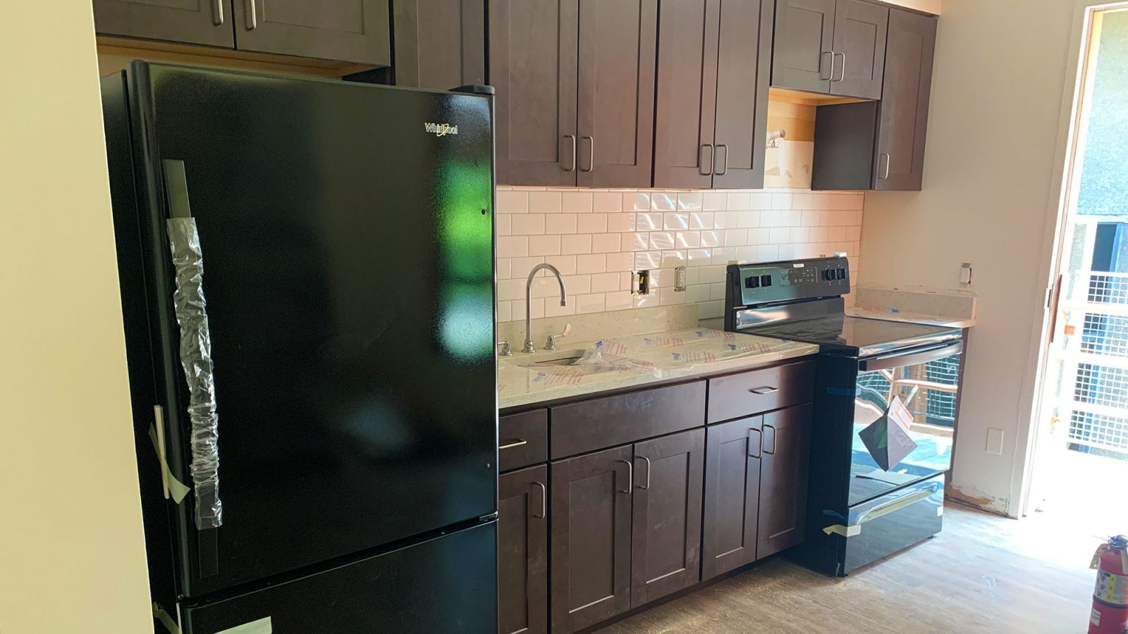 Renovated kitchen in Village A residence hall.