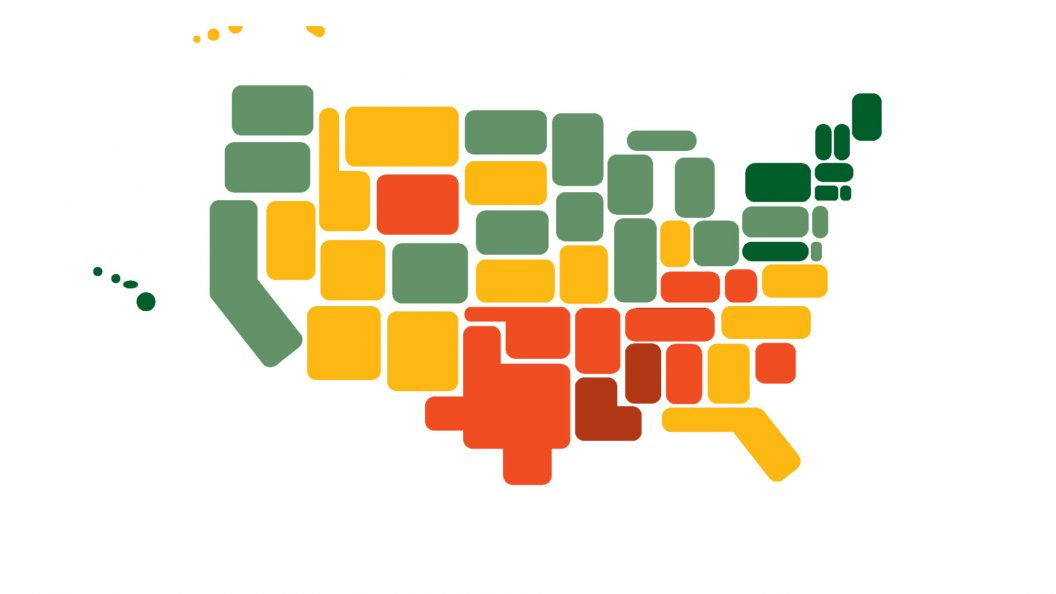Graphic of the United States with shapes representing the states