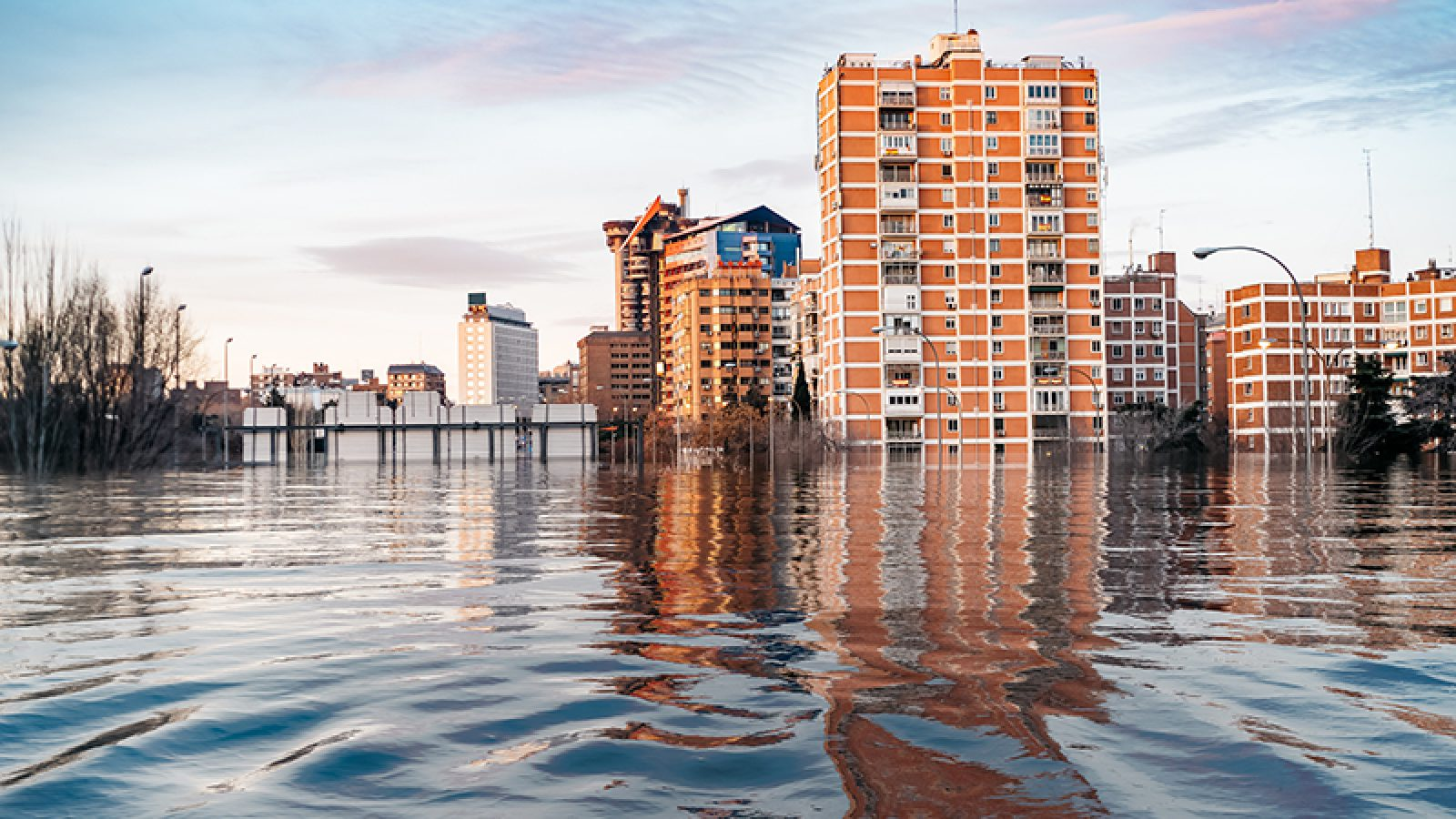 Hypothetical depiction of flooding in Madrid with tall buildings due to climate change