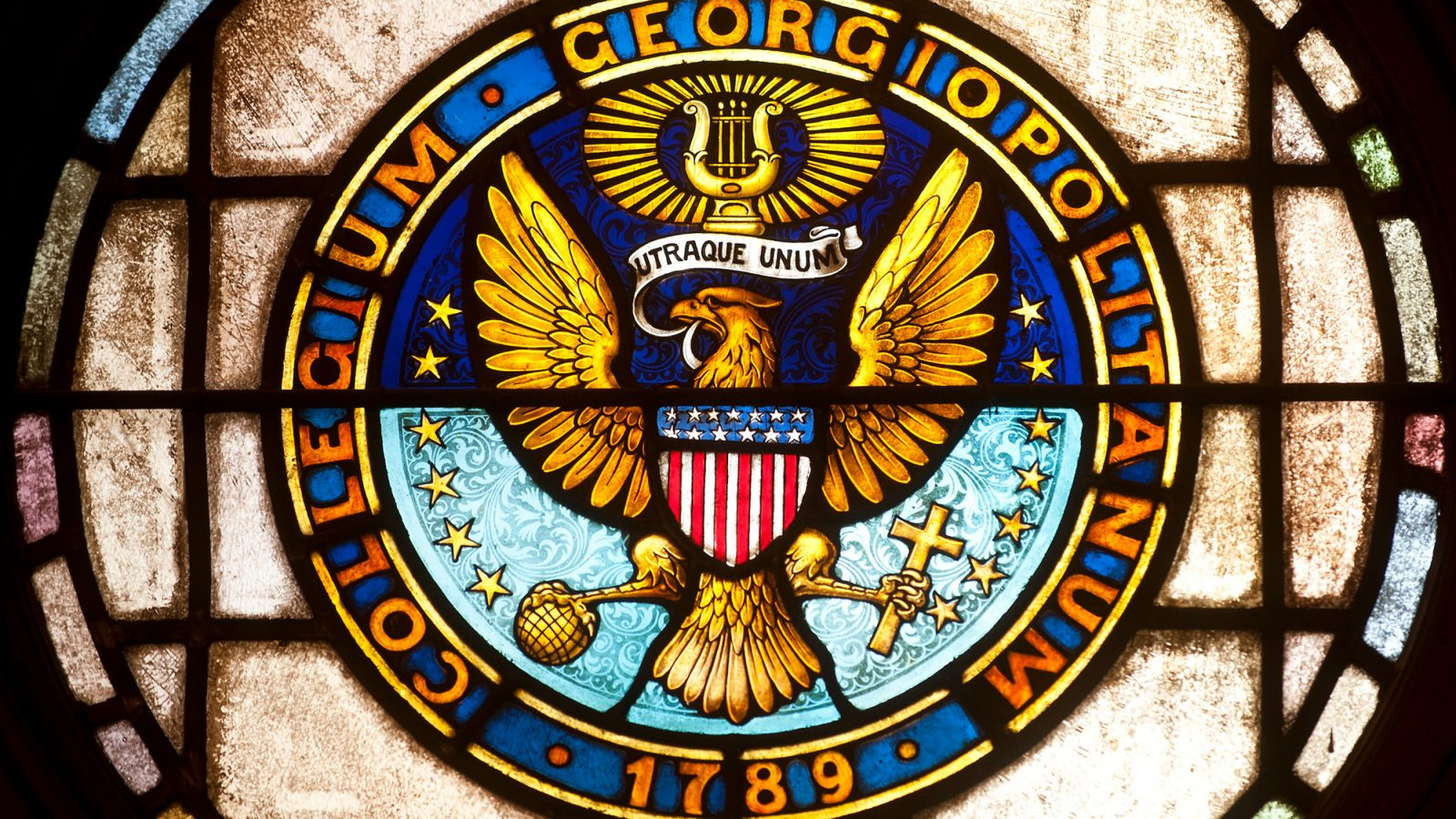 The Georgetown seal rendered in stained glass