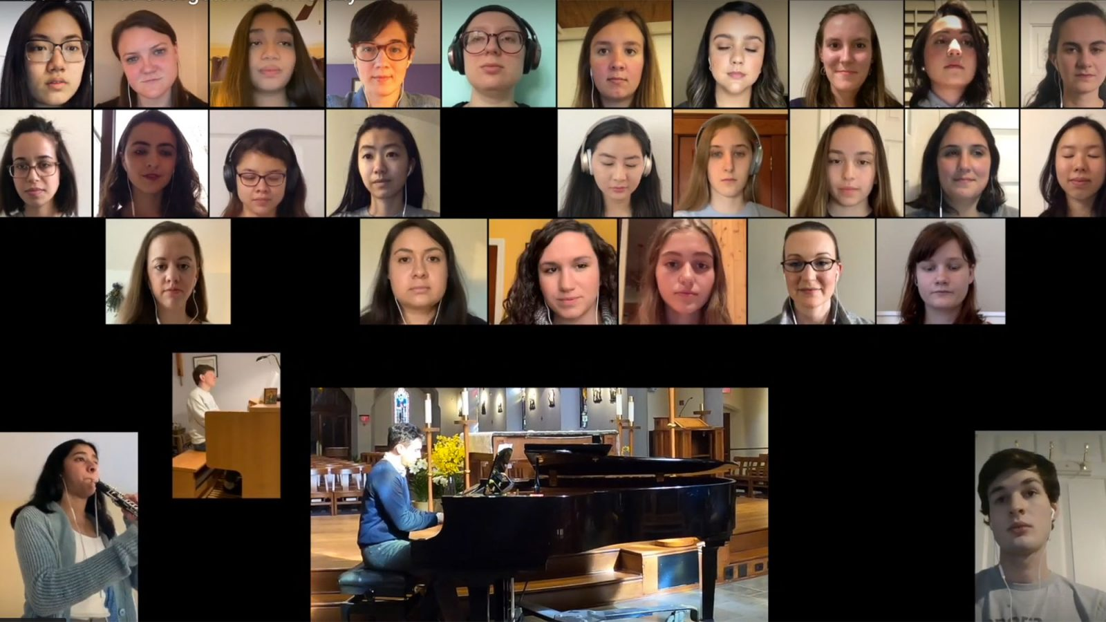 A Zoom screen shows students singing and playing instruments in a choir experience.