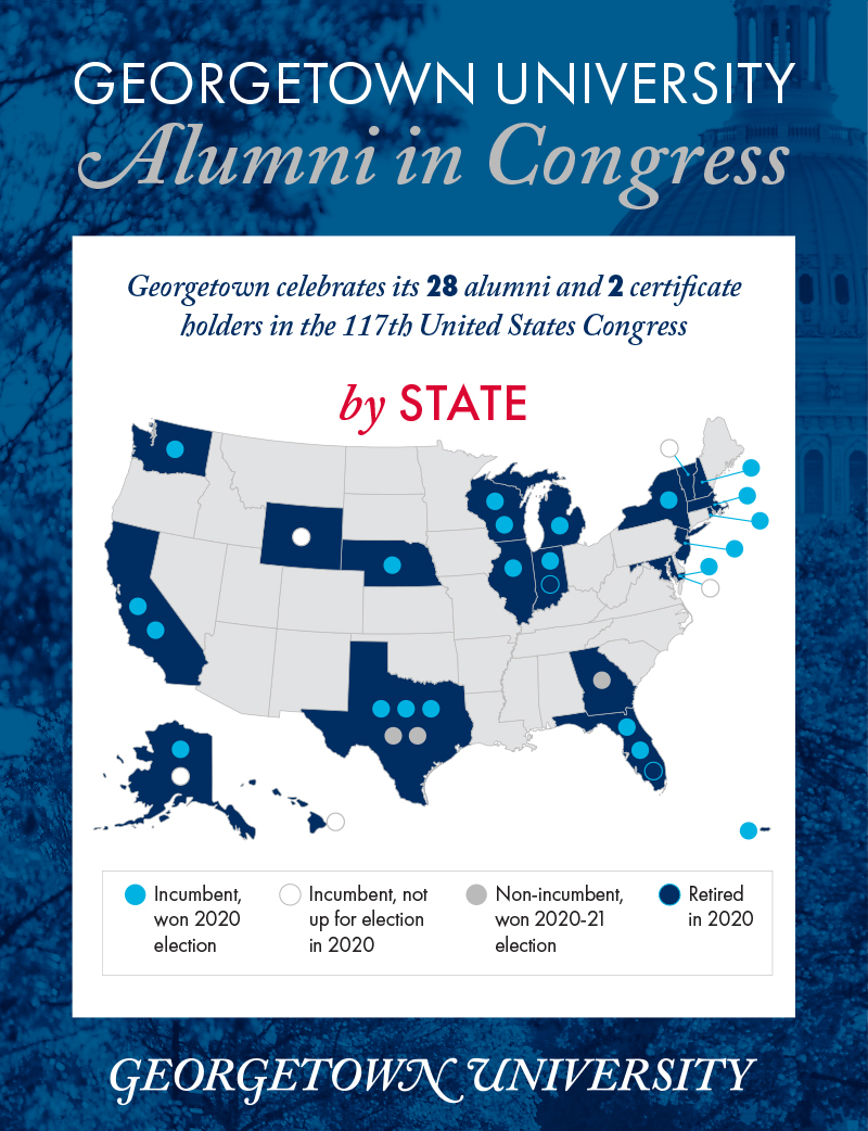 A map of the United States shows where Georgetown alumni were elected to Congressional seats.
