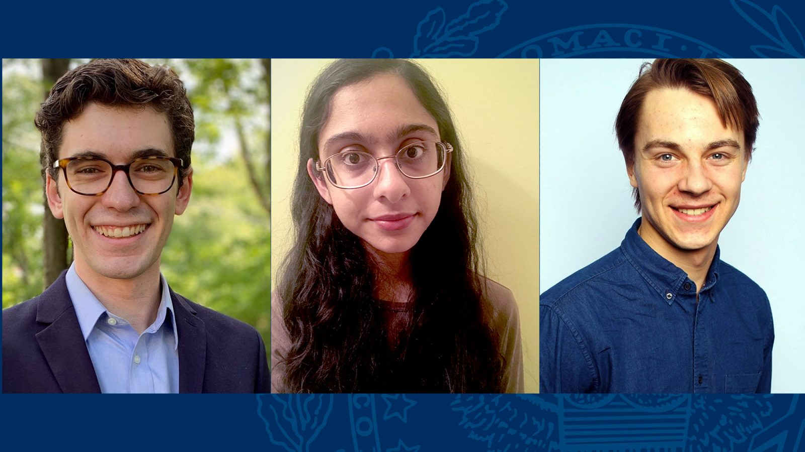 Side-by-side photos of Ben Telerski, Nikita Khatri and Carver Fitzgerald.