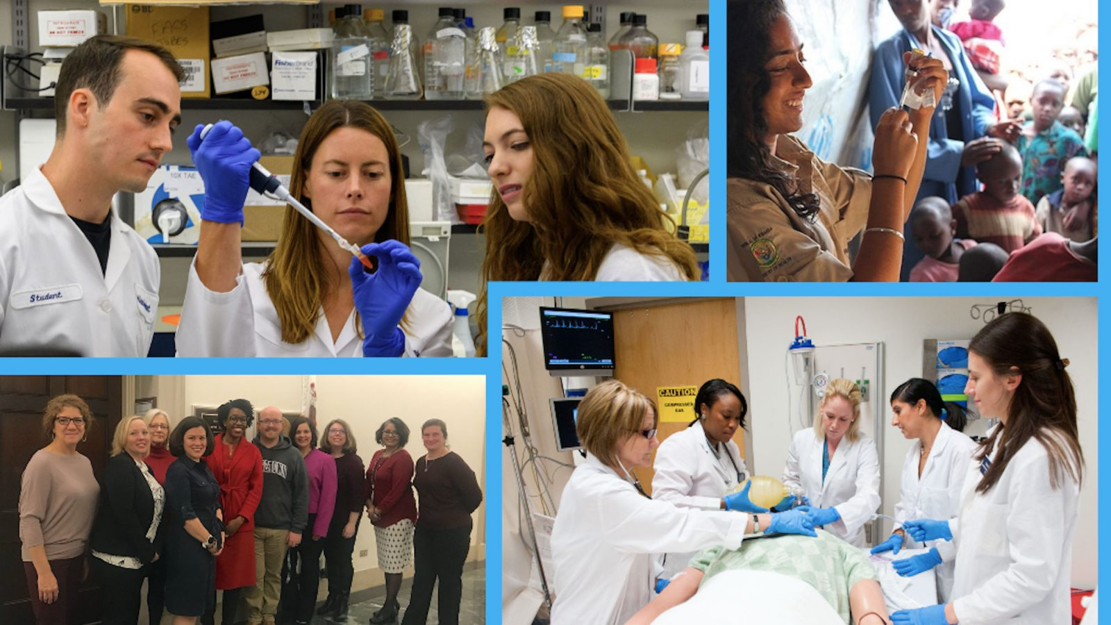 A collage of photos show students working in the labs and caring for patients.