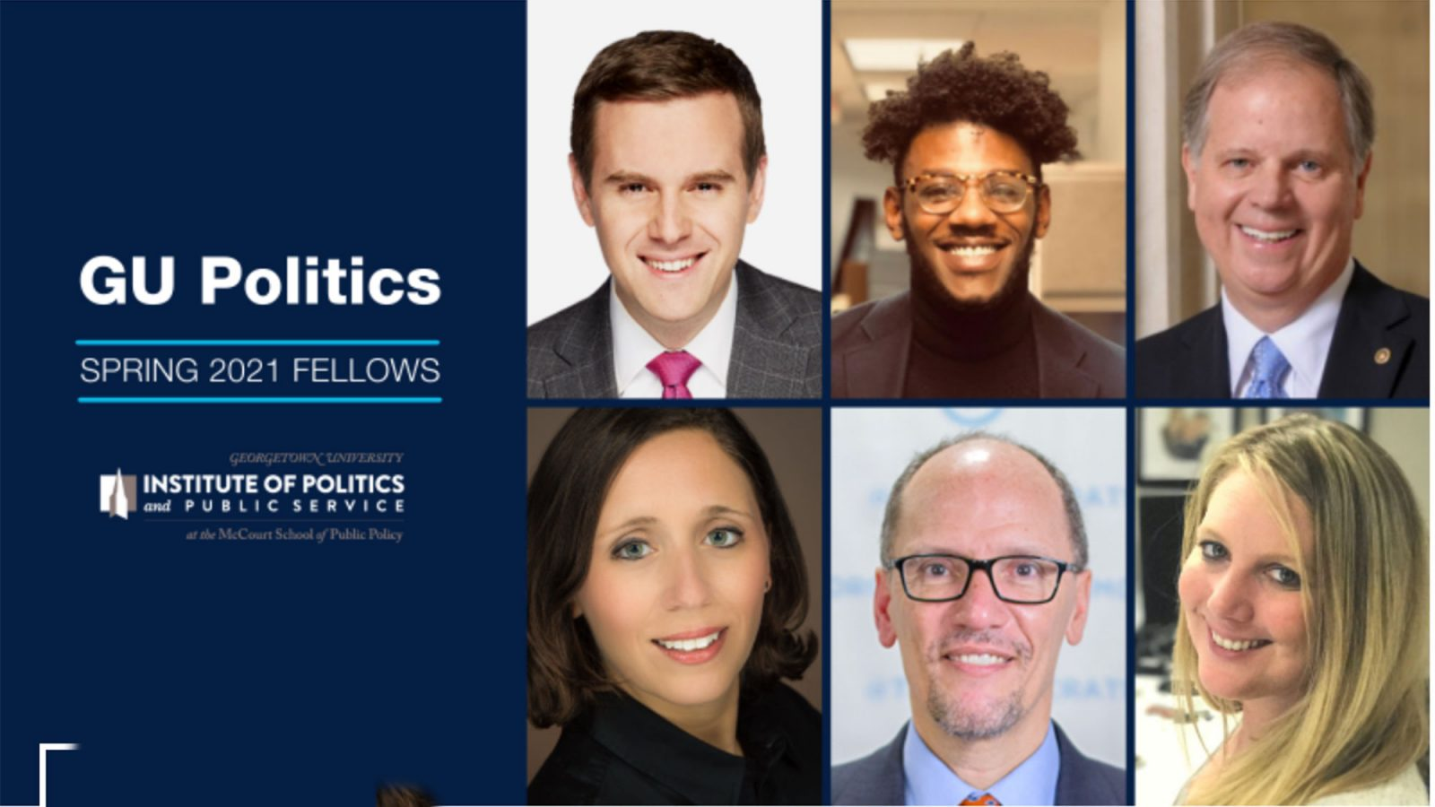 A blue graphic slide of features six Spring 2021 GU Politics Fellows.