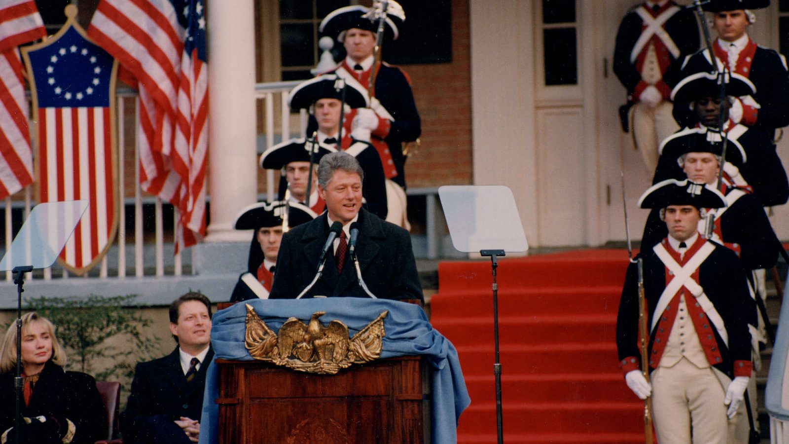 President Bill Clinton speaks from the steps of the Old North Building during his inaugural events.