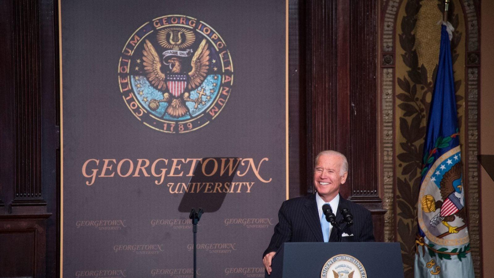 Vice President Joe Biden speaking at Gaston Hall on December 5, 2016