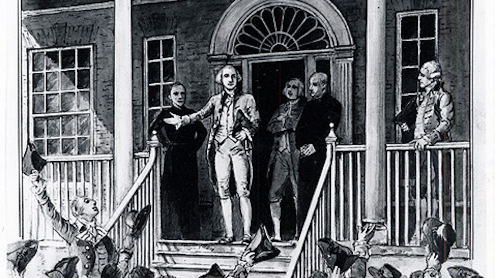 Black and white photo of a drawing of George Washington speaking from the steps of the Old North Building surrounded by an audience.
