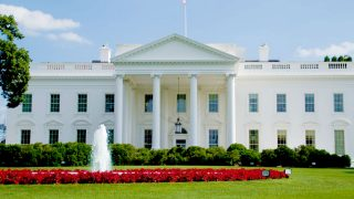 The White House stands with a ring of red flowers surrounding a fountain in front.