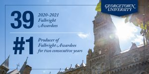 Graphic shows 39 Fulbright student awardees for 2020-2021, making it No. 1 doe a second consecutive year.