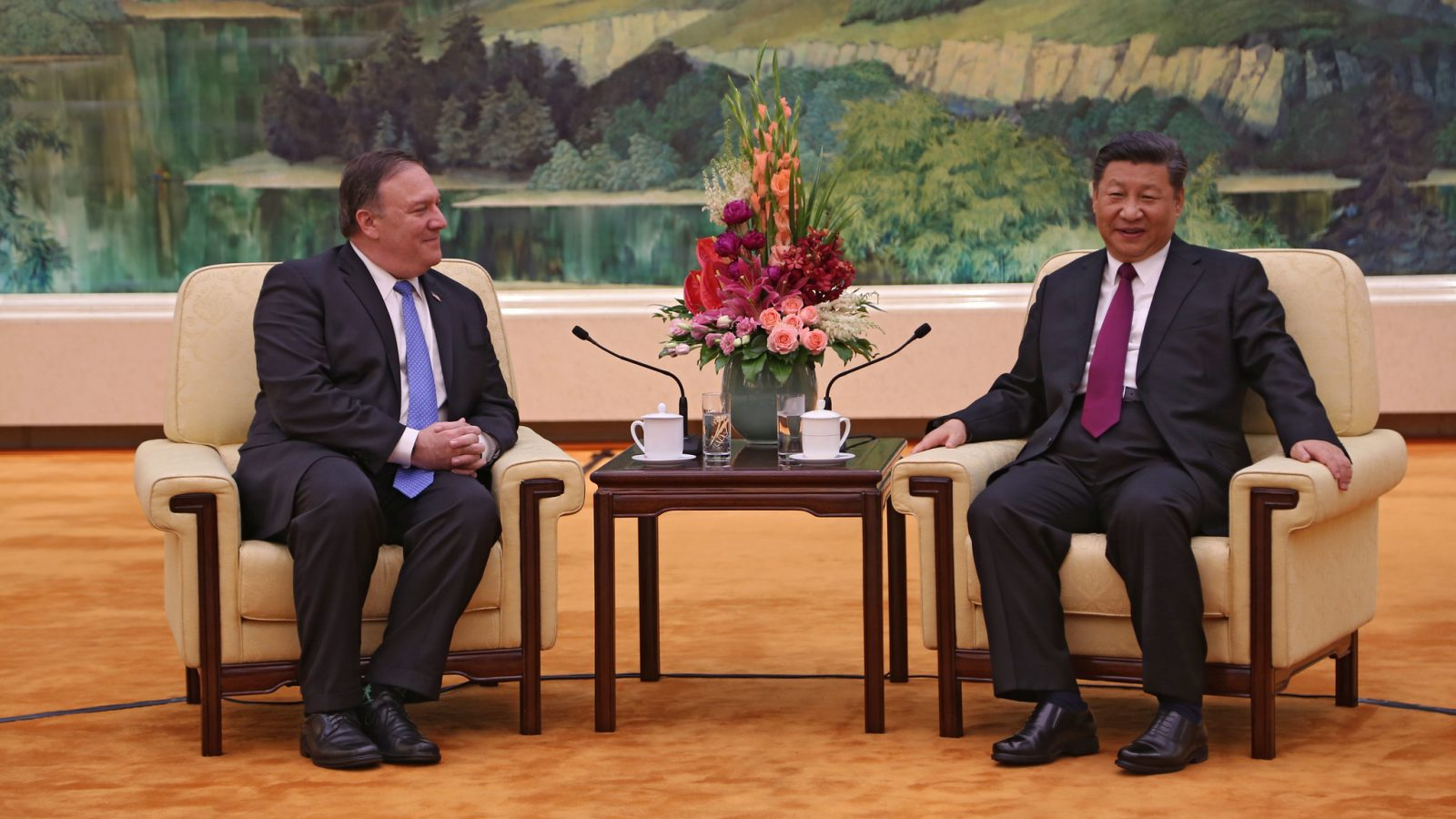 U.S. Secretary of State Mike Pompeo meets with Chinese President Xi Jinping at the Great Hall of the People in Beijing in 2018