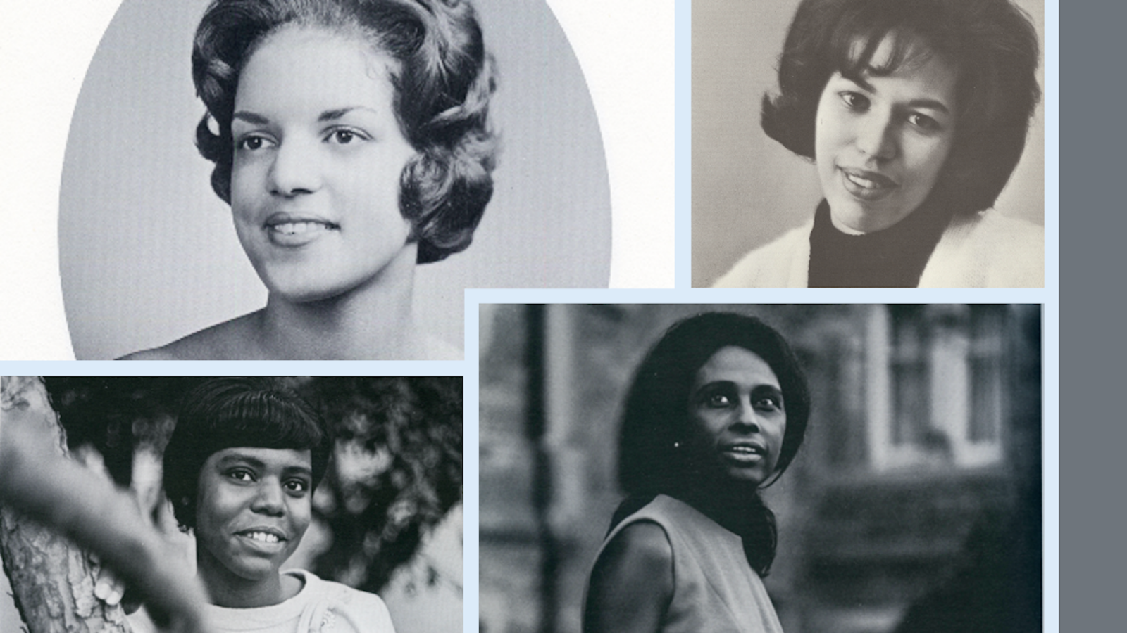 A photo collage of Georgetown yearbook pictures of Margaret Hayes Jordan, Brenda Kennedy Lockley, Bernardine Mays Lacey, and Priscilla Lee Rogers