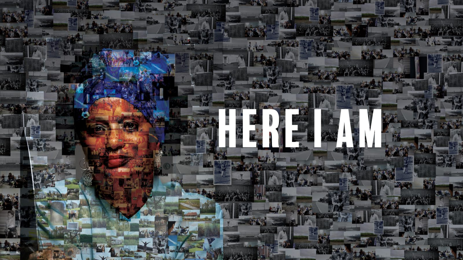 A large mosaic image of Mélisande Short-Colomb, comprised of personal and historical images from her show