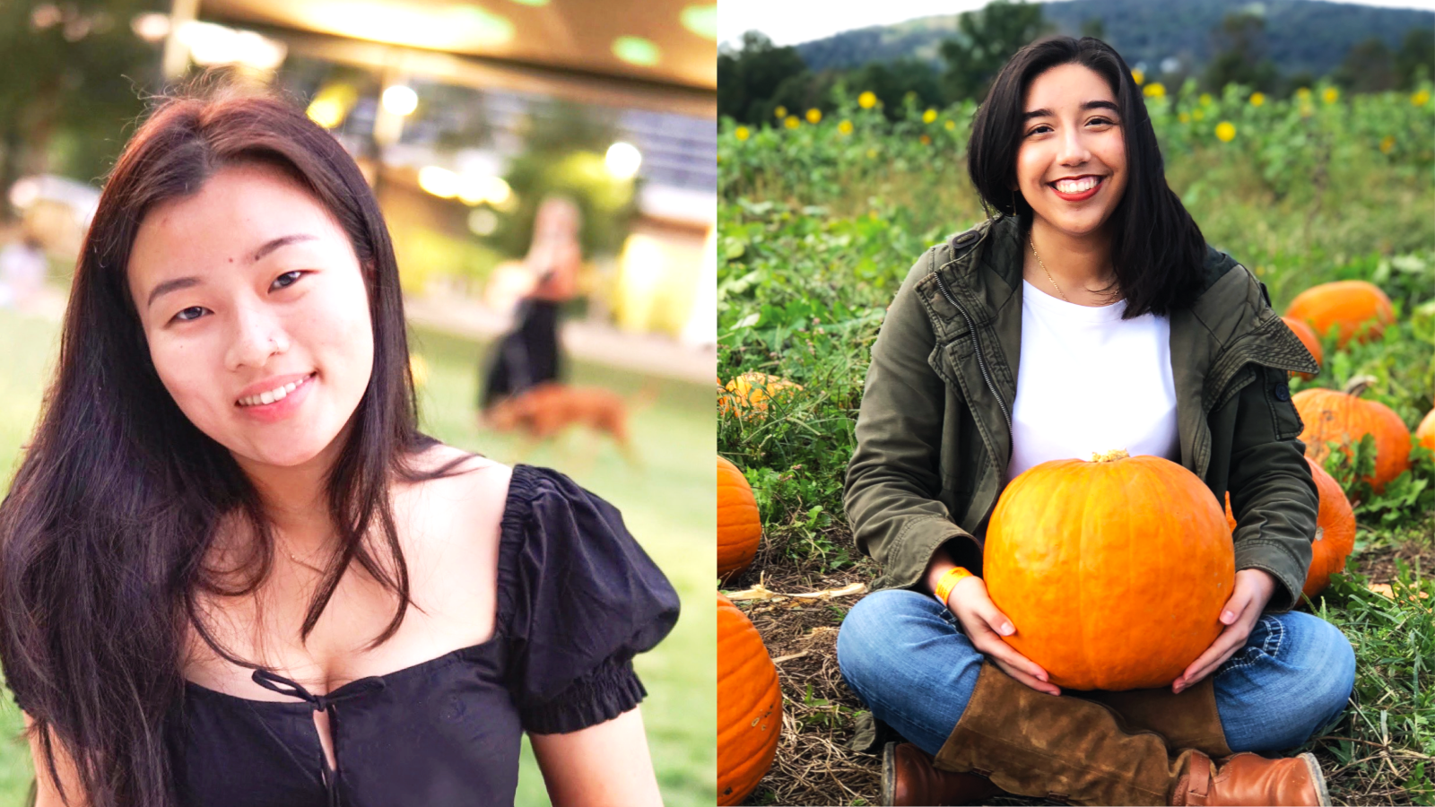 Heather Yu Huang wearing a black shirt and and Jennifer Martínez Sánchez holding a pumkin