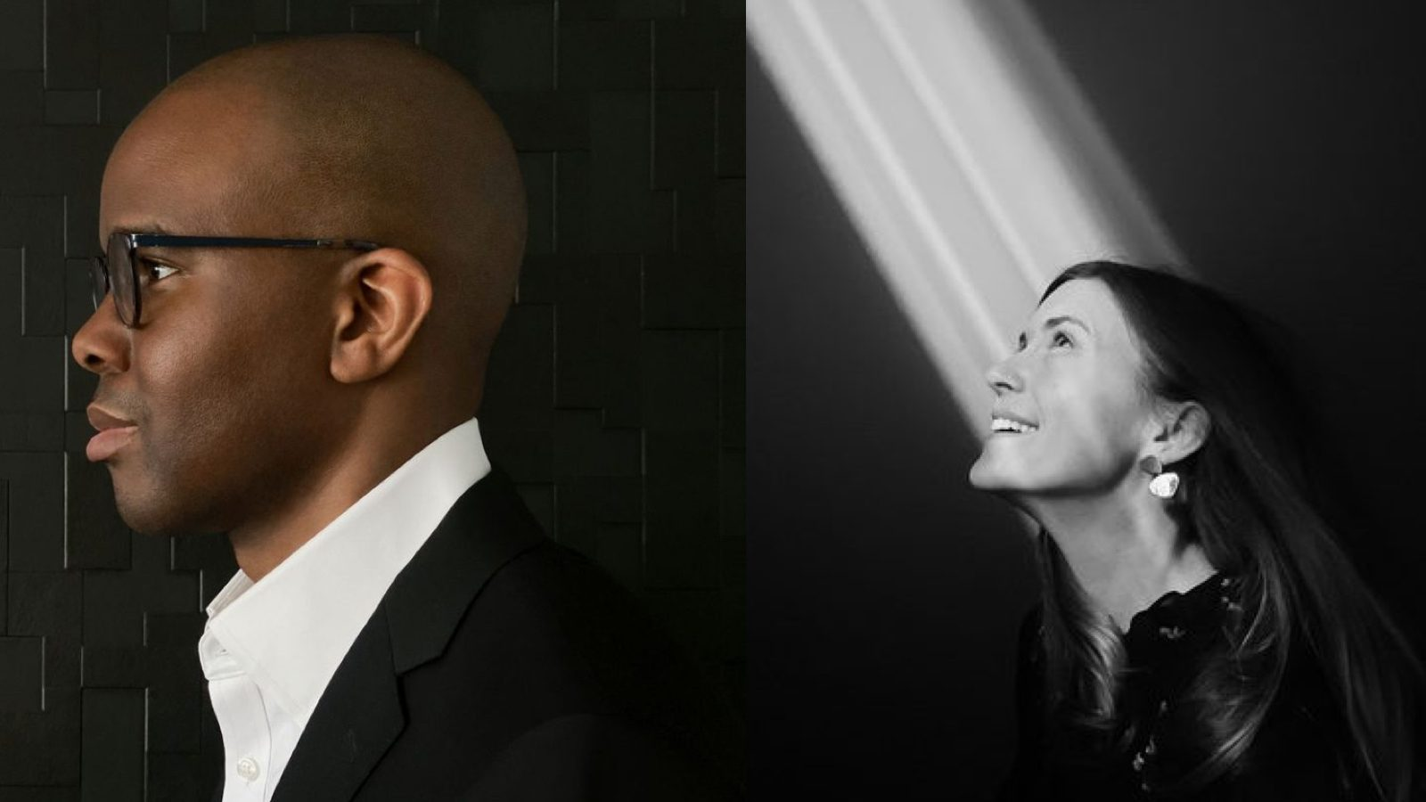 Left: Tope Folarin against black background, Right: Sarah Stewart Johnson in black and white with light a beam shining on her face