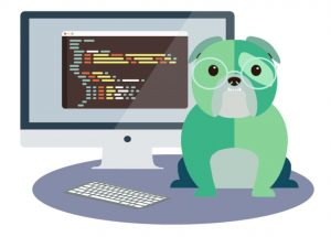 Cartoon of Jack the Bulldog in front of a computer with code on the screen