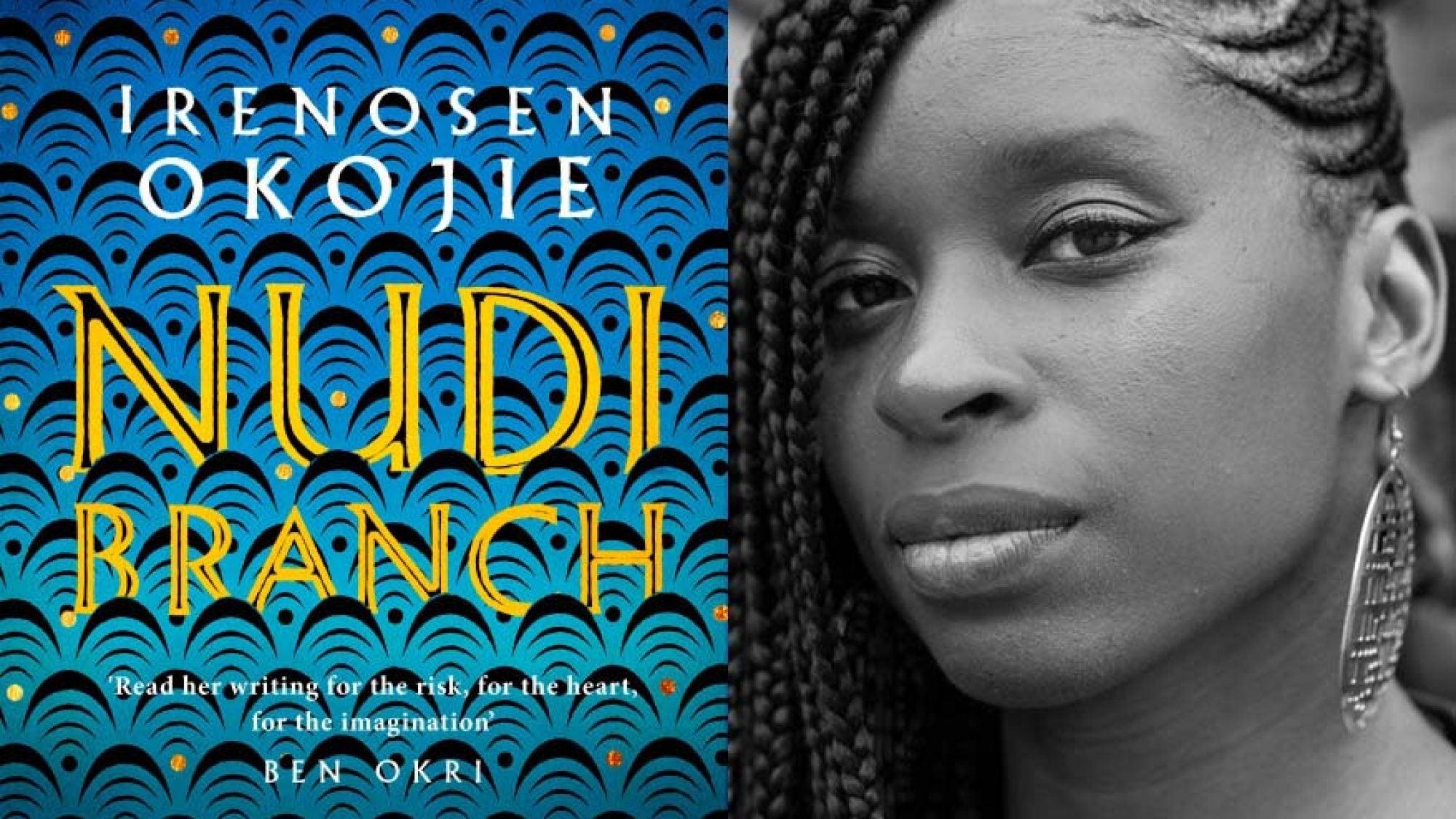 Irenosen Okoji with cover of book Nudibranch