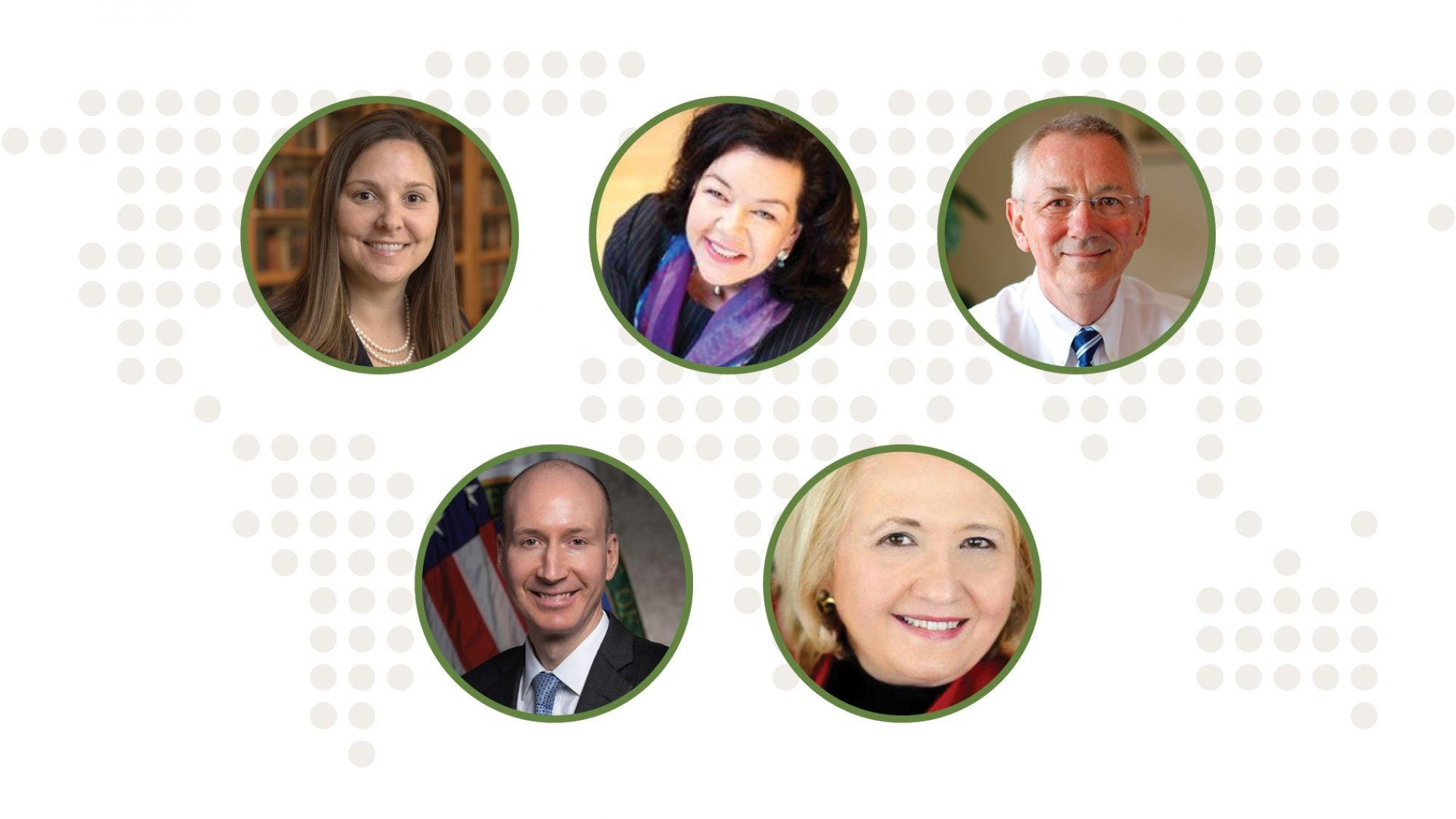 Headshots of Joanna Lewis, Karen Pierce, Andrew Steer, Dave Turk, and Melanne Verveer