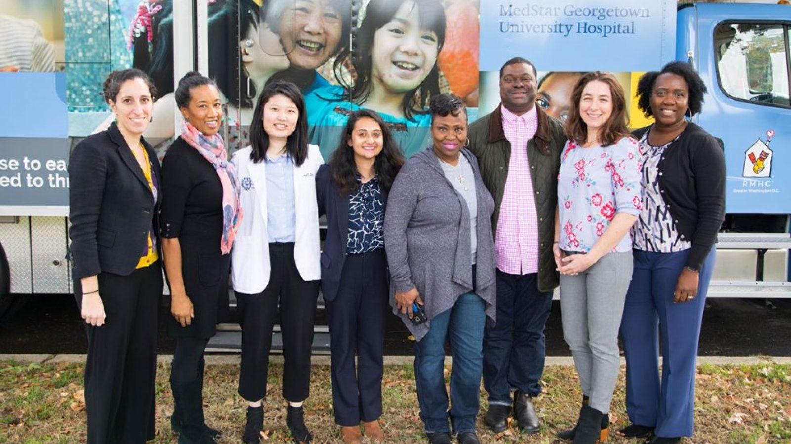 From left: Associate Professor Yael Cannon, Dr. Ana Caskin, Janet Shin (M'20), Prashasti Bhatnagar (L'22), Ella Barnes-Williams, Scott Grissett, Janine Rethy and Joanne Odom