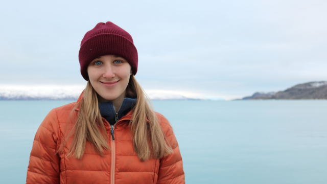 Laura Ratliff in front of a lake in Kangerlussuaq, Greenland