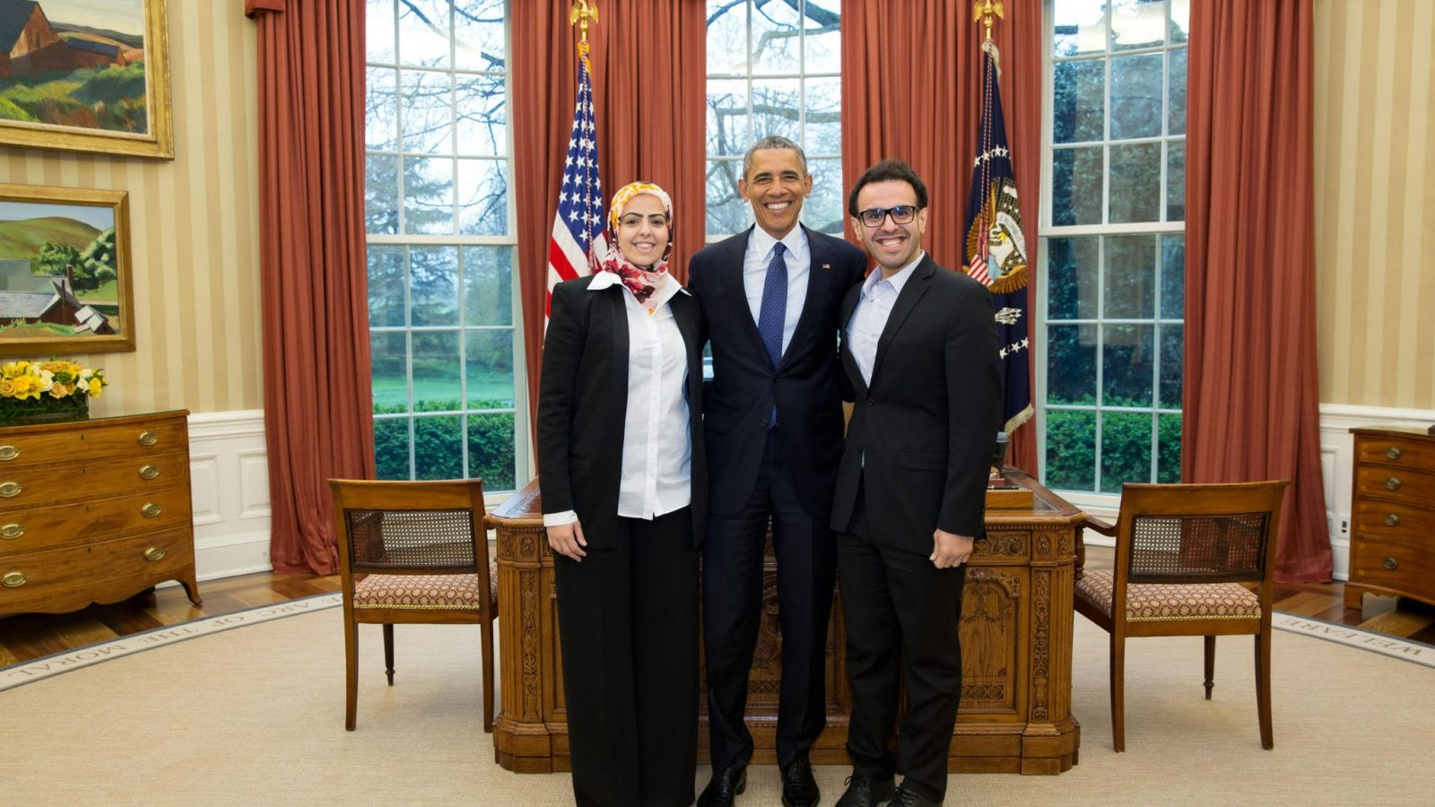 Soltan (right) with President Obama in the Oval Office
