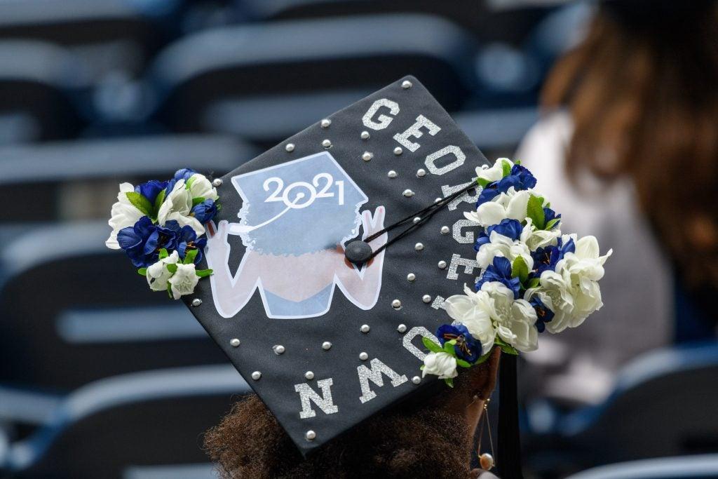 Graduate wearing a decorated graduation cap
