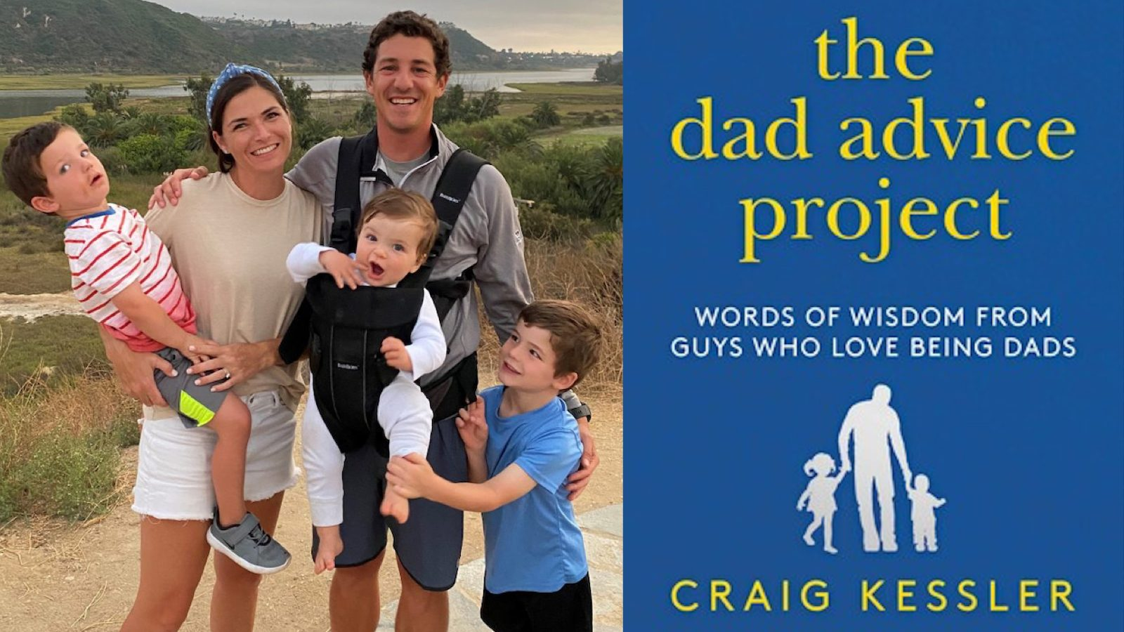 Left: Craig and Nicole Kessler with three young boys, Right: Book Cover