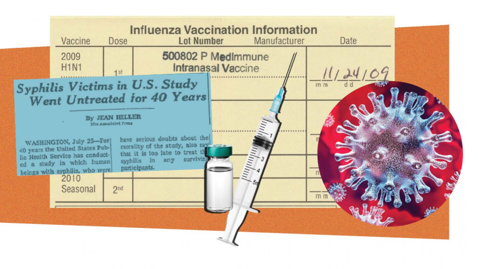 Syringe, news story, vaccine card and COVID-19 graphic
