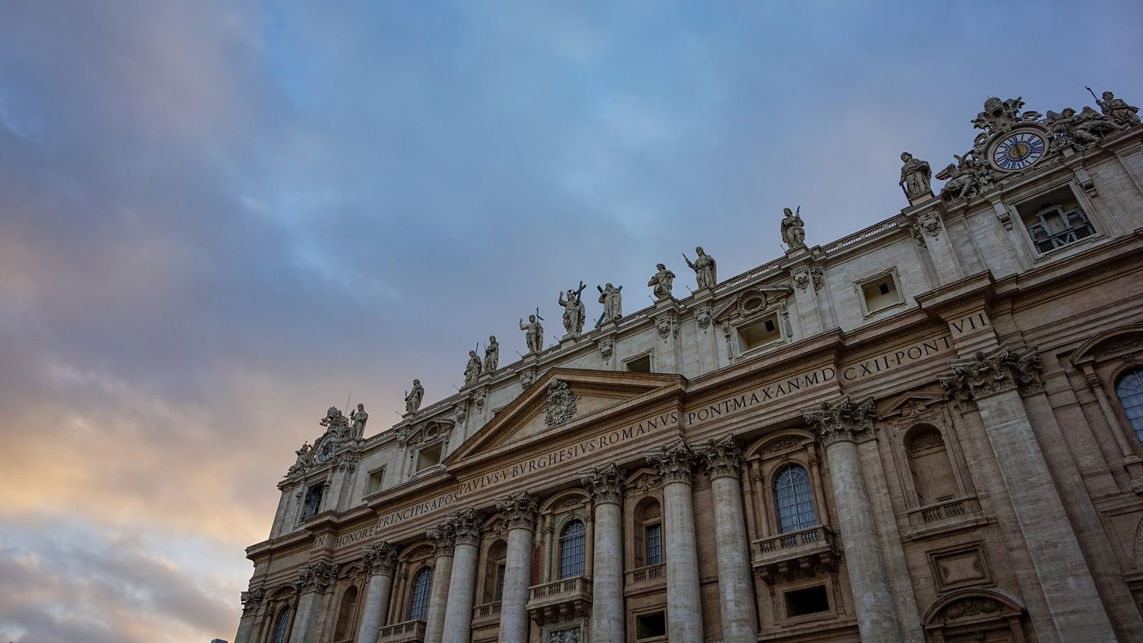 Old building in Vatican City at dawn