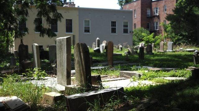Gravestones with Georgetown neighborhood buildings in the background