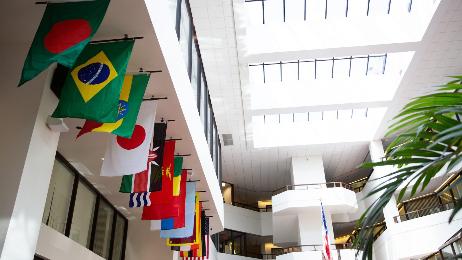 A series of Flags in the atrium of the ICC