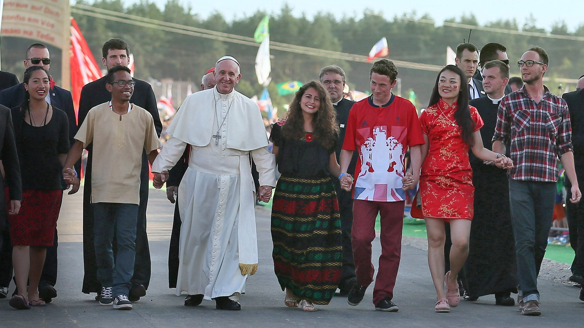 Pope Francis and young adults at World Youth Day in 2016