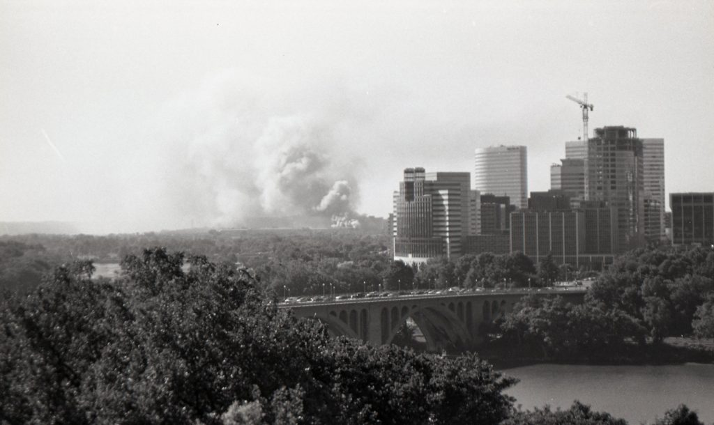 Smoke on the horizon next to Arlington and behind Key Bridge
