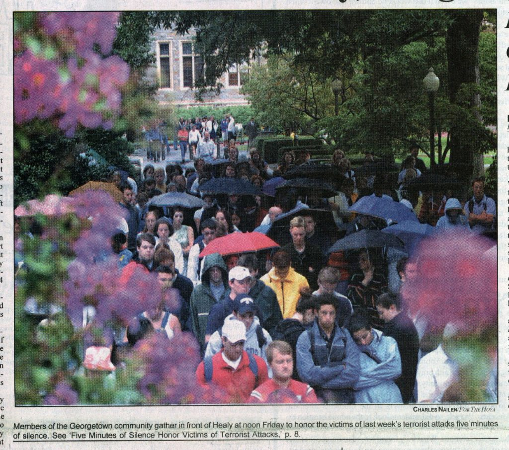 A crowd of students in a newspaper clipping