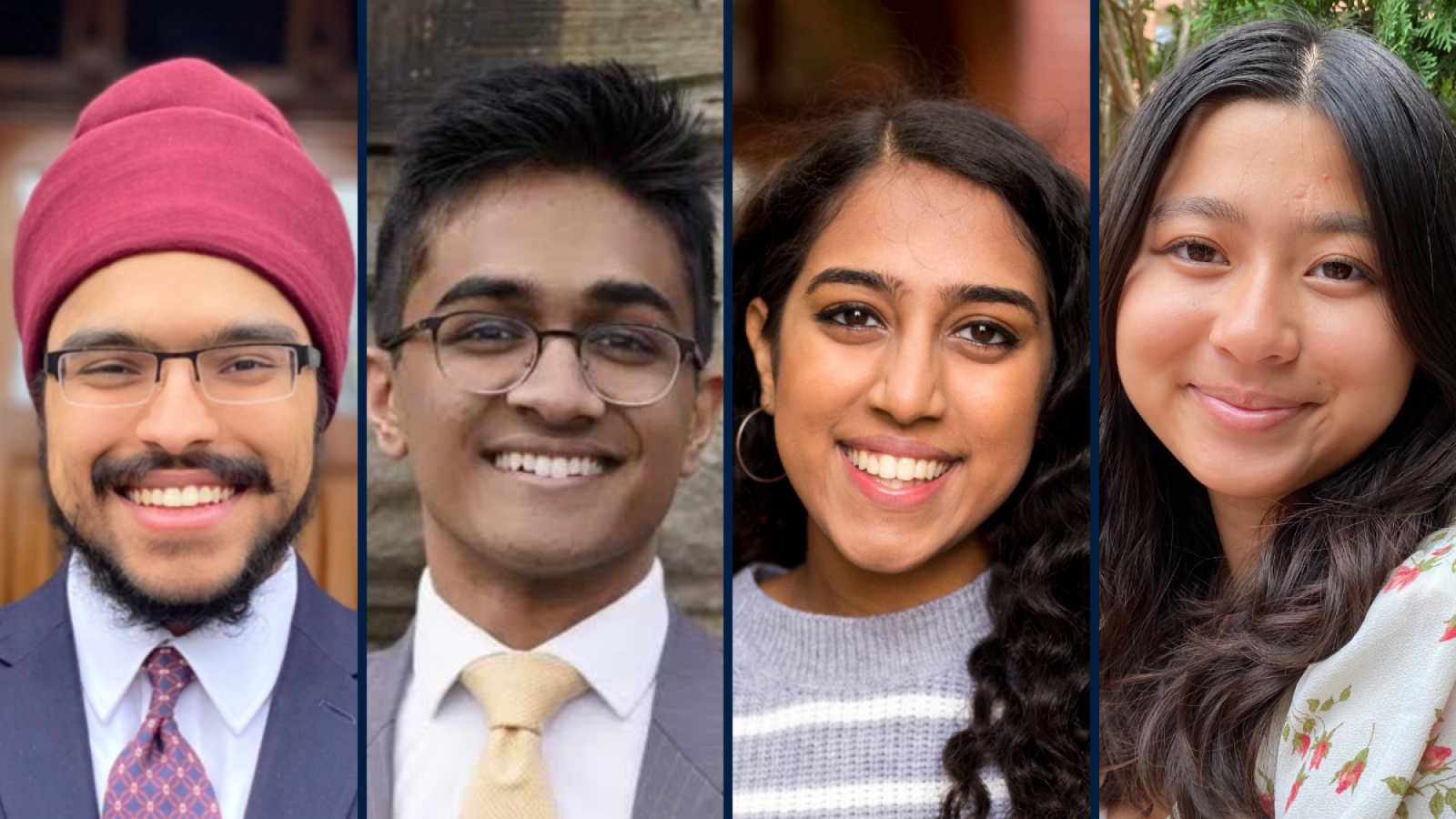 Four Hoyas pictured from the 2021 cohort of the Paul F. Pelosi Scholars Initiative.