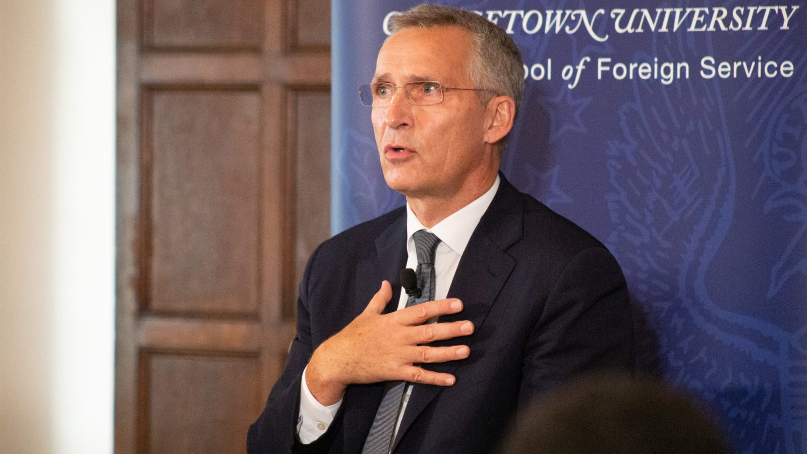 NATO Secretary General Jens Stoltenberg speaks at the Walsh School of Foreign Service's Oct. 5 event.
