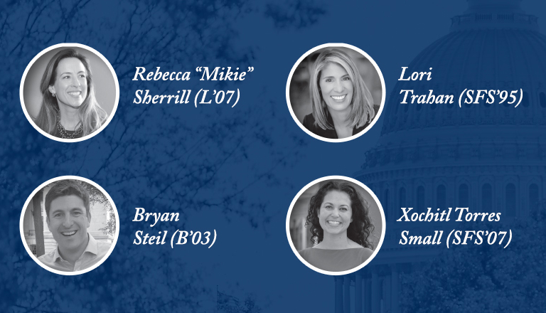 "Rebecca ""Mikie"" Sherrill, Byran Steil, Xochitl Torres Small and Lori Trahan"