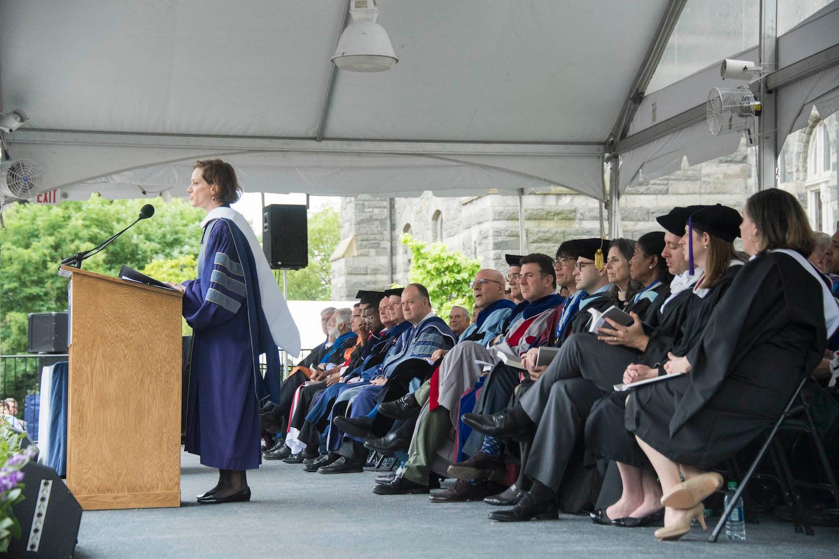 Anne Applebaum addresses SFS graduates.