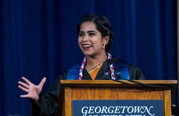 Devika Ranjan speaks uring Senior Convocation